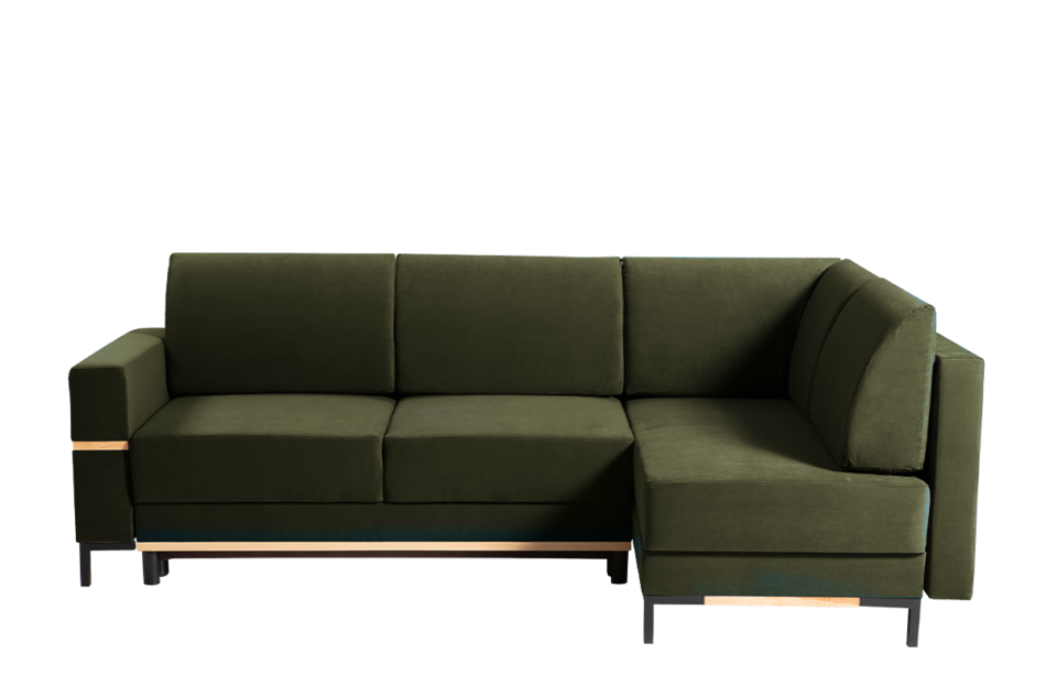 BOHUS Rozkładany narożnik w stylu skandynawskim oliwka oliwkowy - zdjęcie 0