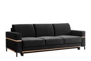 BOHUS, https://konsimo.pl/kolekcja/bohus/ Rozkładana sofa 3 osobowa w stylu skandynawskim grafit grafitowy - zdjęcie