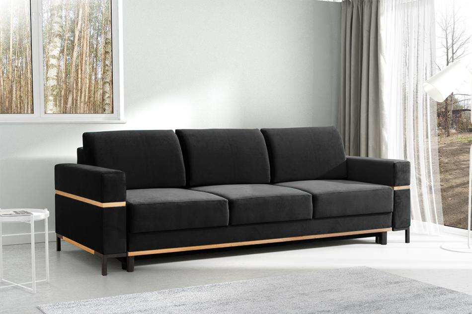 BOHUS Rozkładana sofa 3 osobowa w stylu skandynawskim grafit grafitowy - zdjęcie 1