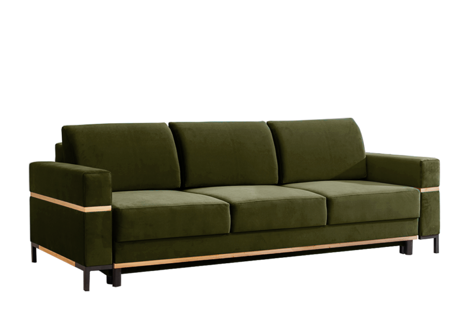 BOHUS Rozkładana sofa 3 osobowa w stylu skandynawskim oliwka oliwkowy - zdjęcie 0