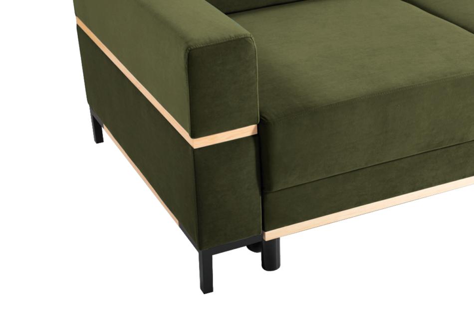 BOHUS Rozkładana sofa 3 osobowa w stylu skandynawskim oliwka oliwkowy - zdjęcie 2