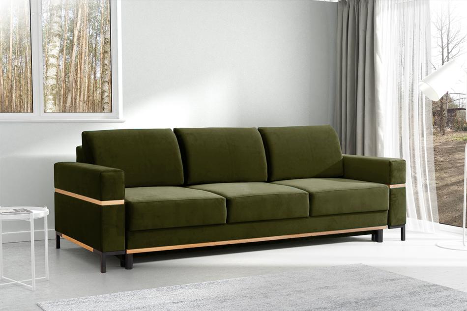BOHUS Rozkładana sofa 3 osobowa w stylu skandynawskim oliwka oliwkowy - zdjęcie 1