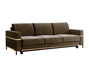 BOHUS, https://konsimo.pl/kolekcja/bohus/ Rozkładana sofa 3 osobowa w stylu skandynawskim brązowa jasny brązowy - zdjęcie