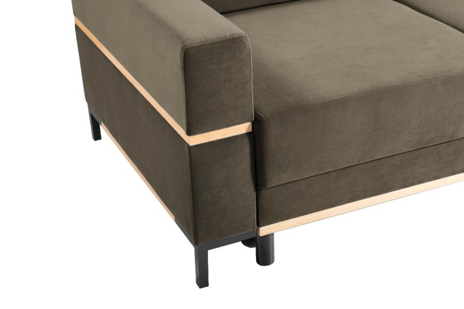 BOHUS Rozkładana sofa 3 osobowa w stylu skandynawskim brązowa jasny brązowy - zdjęcie 2