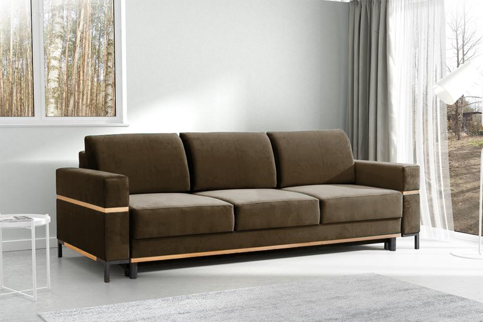 BOHUS Rozkładana sofa 3 osobowa w stylu skandynawskim brązowa jasny brązowy - zdjęcie 1