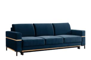 BOHUS, https://konsimo.pl/kolekcja/bohus/ Rozkładana sofa 3 osobowa w stylu skandynawskim granatowa granatowy - zdjęcie