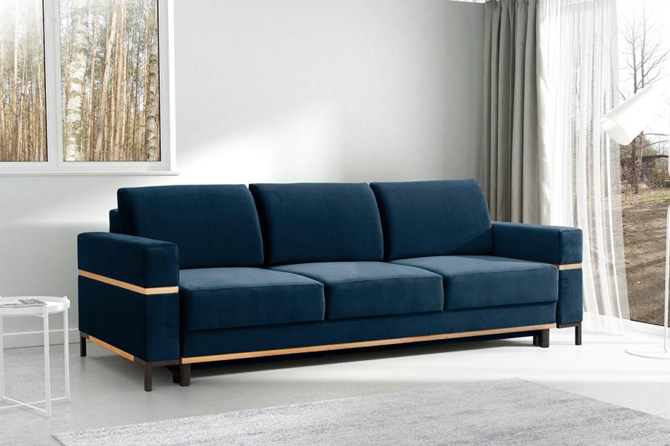 BOHUS Rozkładana sofa 3 osobowa w stylu skandynawskim granatowa granatowy - zdjęcie 1