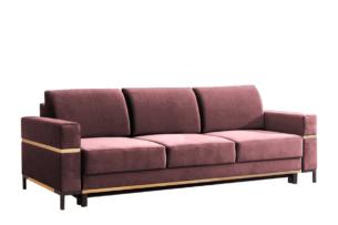 BOHUS, https://konsimo.pl/kolekcja/bohus/ Rozkładana sofa 3 osobowa w stylu skandynawskim różowa koralowy - zdjęcie