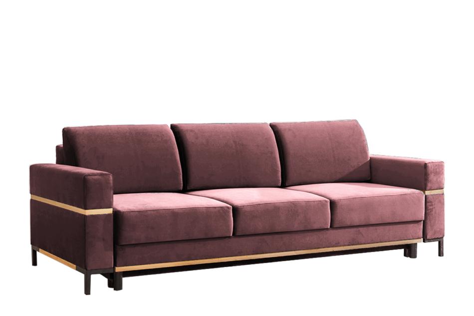BOHUS Rozkładana sofa 3 osobowa w stylu skandynawskim różowa koralowy - zdjęcie 0
