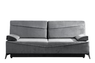 SEOLUS, https://konsimo.pl/kolekcja/seolus/ Sofa rozkładana z podłokietnikami welur szara szary - zdjęcie