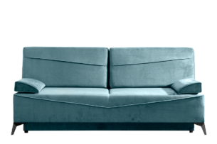 SEOLUS, https://konsimo.pl/kolekcja/seolus/ Sofa rozkładana z podłokietnikami welur niebieska morski - zdjęcie