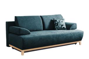VERTIS, https://konsimo.pl/kolekcja/vertis/ Sofa rozkładana z drewnianymi nóżkami zielona turkusowy - zdjęcie