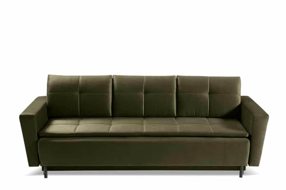 SCOLY Wygodna sofa z funkcją spania pikowana oliwkowa zielony - zdjęcie 0
