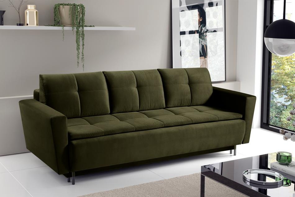 SCOLY Wygodna sofa z funkcją spania pikowana oliwkowa zielony - zdjęcie 1