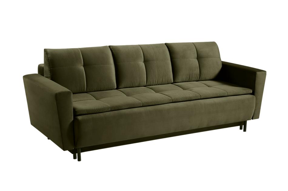 SCOLY Wygodna sofa z funkcją spania pikowana oliwkowa zielony - zdjęcie 2