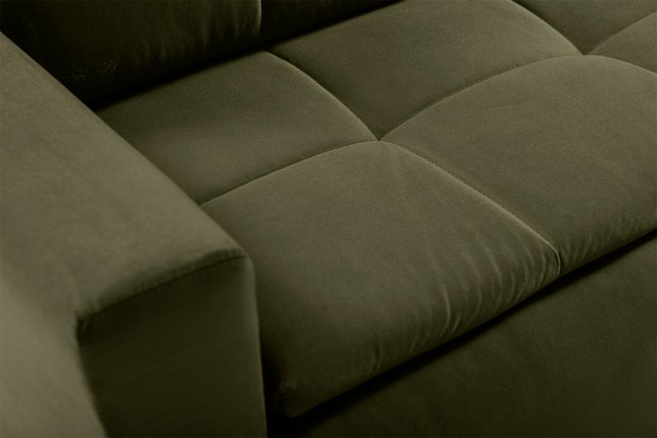 SCOLY Wygodna sofa z funkcją spania pikowana oliwkowa zielony - zdjęcie 6