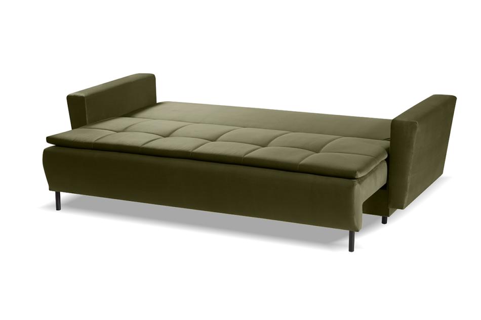 SCOLY Wygodna sofa z funkcją spania pikowana oliwkowa zielony - zdjęcie 4
