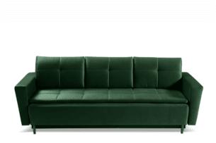 SCOLY, https://konsimo.pl/kolekcja/scoly/ Wygodna sofa z funkcją spania pikowana butelkowa zieleń ciemny zielony - zdjęcie