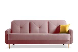 AVENU, https://konsimo.pl/kolekcja/avenu/ Rozkładana wersalka 3 osobowa z pojemnikiem na pościel różowa różowy - zdjęcie