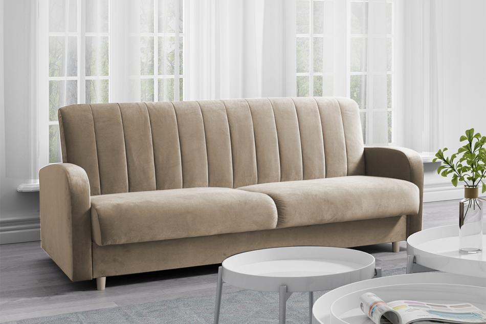 CAVICO Rozkładana sofa do salonu automat wersalkowy beżowa beżowy - zdjęcie 1