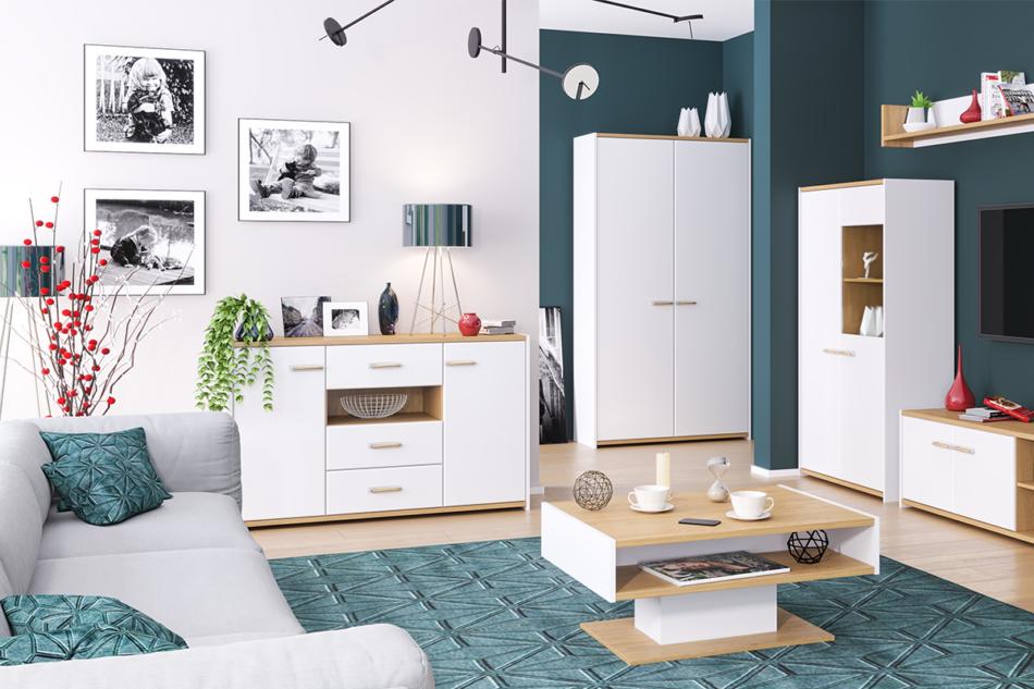 ANTHO Skandynawska duża komoda z półkami i szufladami biała / dąb biały/dąb naturalny - zdjęcie 1