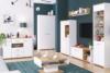 ANTHO Skandynawska duża komoda z półkami i szufladami biała / dąb biały/dąb naturalny - zdjęcie 4