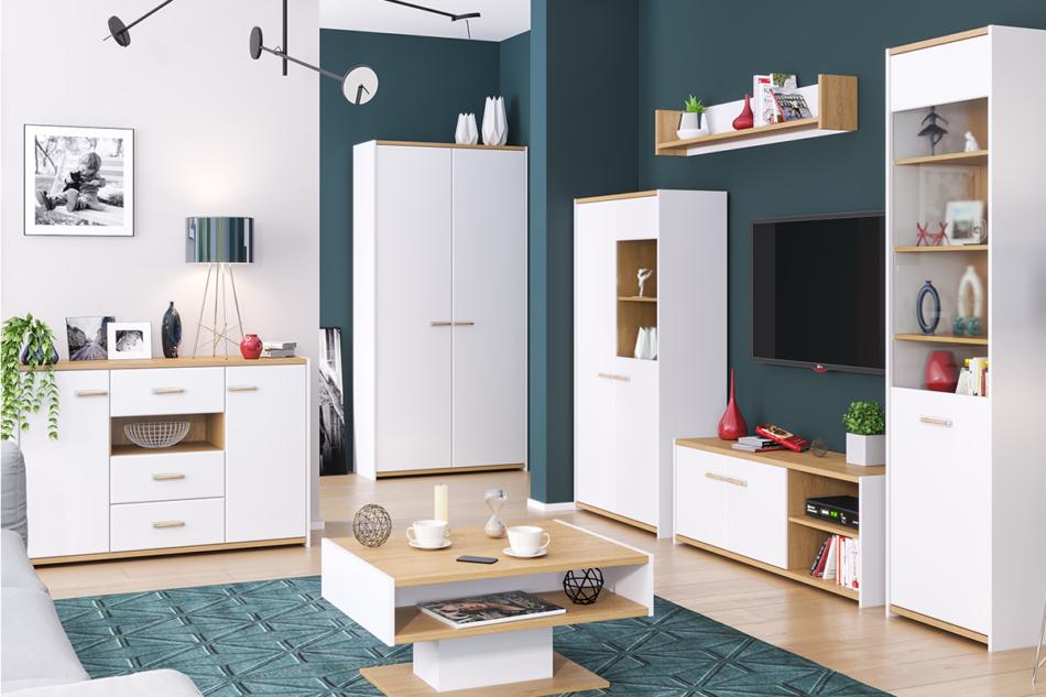 ANTHO Skandynawska duża komoda z półkami i szufladami biała / dąb biały/dąb naturalny - zdjęcie 3