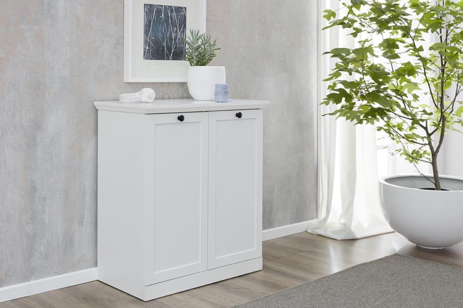 LIANTE Komoda z półkami do przedpokoju biała biały - zdjęcie 1