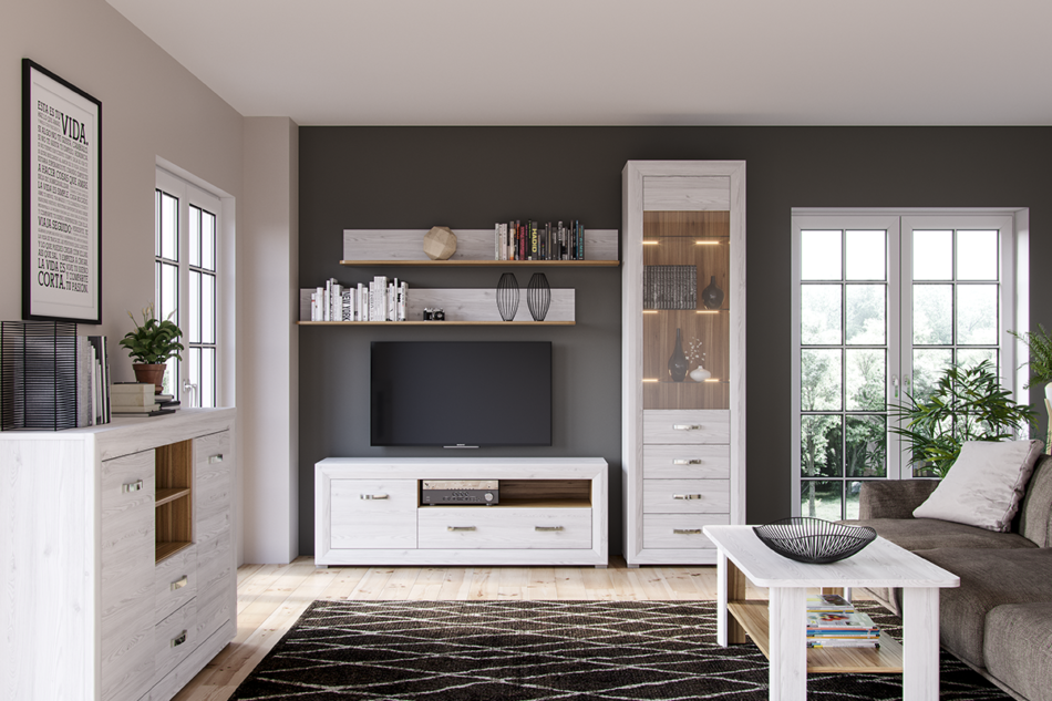 MILVO Duża komoda z półkami i szufladami w stylu klasycznym biała / orzech biały - zdjęcie 1