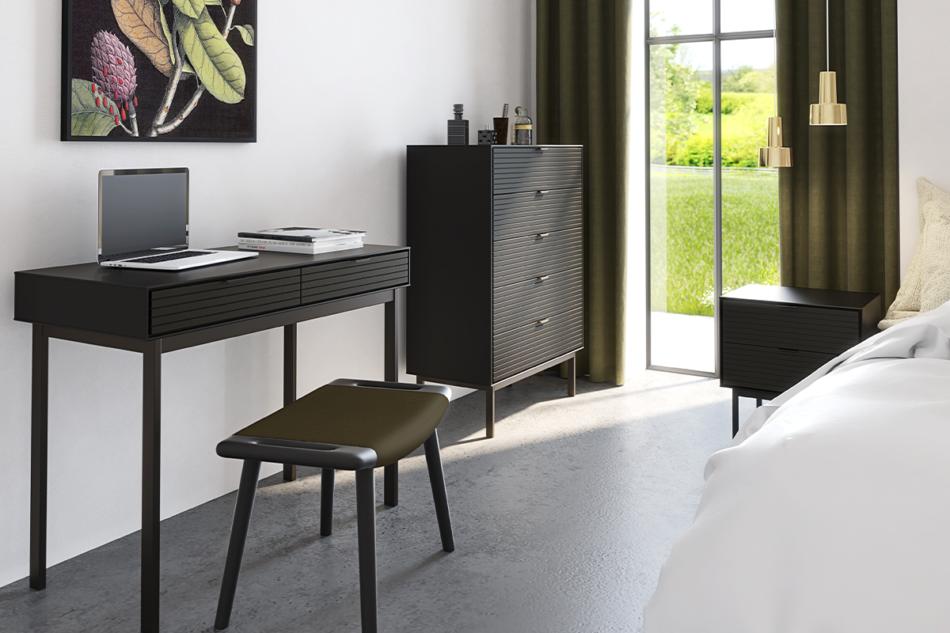 SOMA Komoda z szufladami w stylu loft na nóżkach czarna czarny - zdjęcie 1