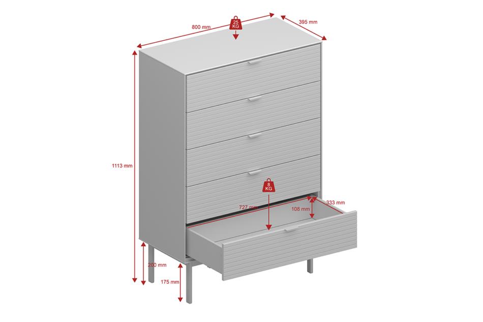 SOMA Komoda z szufladami w stylu loft na nóżkach czarna czarny - zdjęcie 3