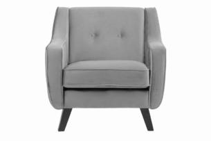 TERSO, https://konsimo.pl/kolekcja/terso/ Skandynawski fotel welurowy popielaty popielaty - zdjęcie