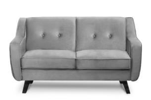 TERSO, https://konsimo.pl/kolekcja/terso/ Skandynawska sofa 2 osobowa welur popielaty popielaty - zdjęcie