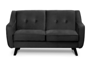 TERSO, https://konsimo.pl/kolekcja/terso/ Skandynawska sofa 2 osobowa welur grafit grafitowy - zdjęcie