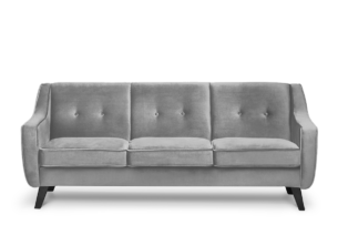 TERSO, https://konsimo.pl/kolekcja/terso/ Skandynawska sofa 3 osobowa welur popielaty popielaty - zdjęcie