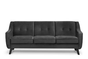 TERSO, https://konsimo.pl/kolekcja/terso/ Skandynawska sofa 3 osobowa welur grafit grafitowy - zdjęcie