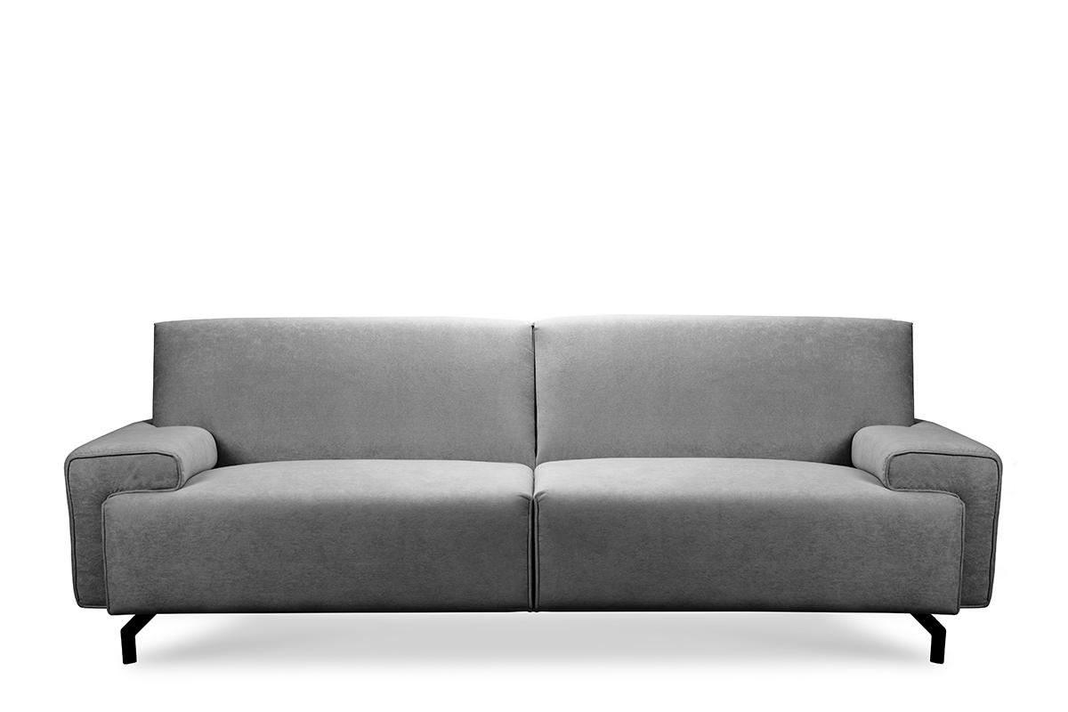 Sofa loft na czarnych nóżkach szara