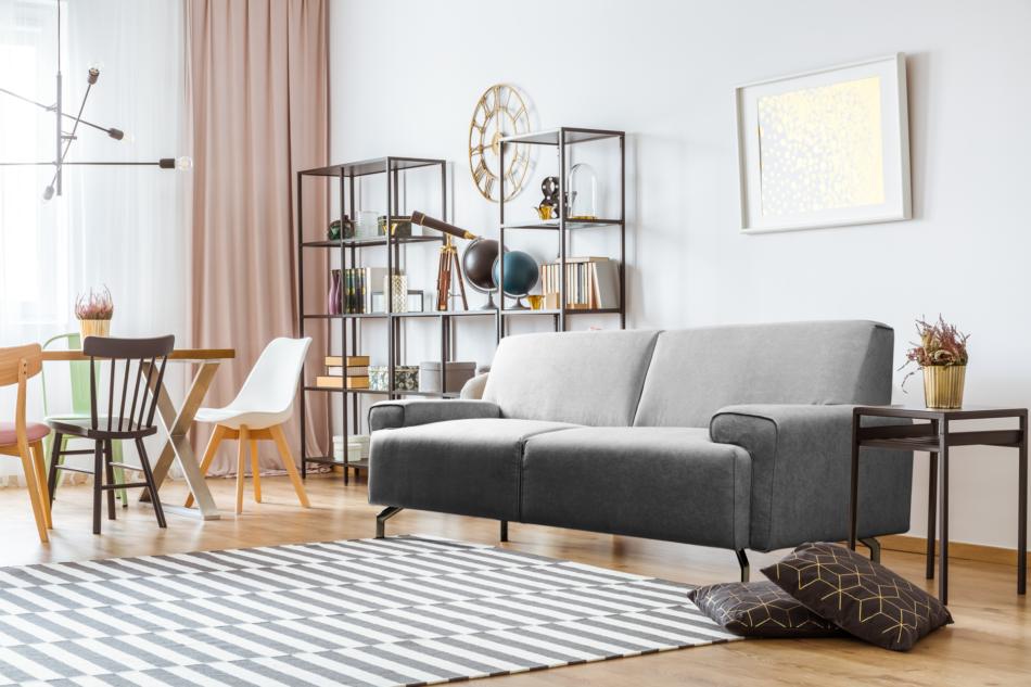 PERTO Sofa loft na czarnych nóżkach szara szary - zdjęcie 1