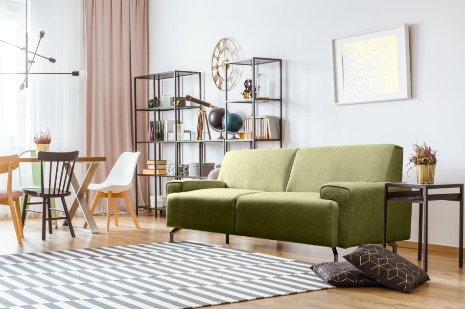 PERTO Sofa loft na czarnych nóżkach oliwkowa jasny zielony - zdjęcie 1
