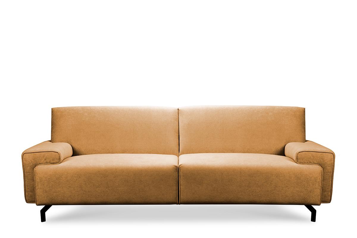 Sofa loft na czarnych nóżkach ciepły brąz
