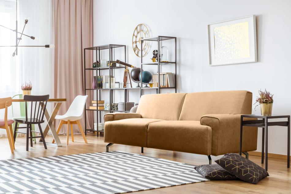 PERTO Sofa loft na czarnych nóżkach ciepły brąz brązowy - zdjęcie 1