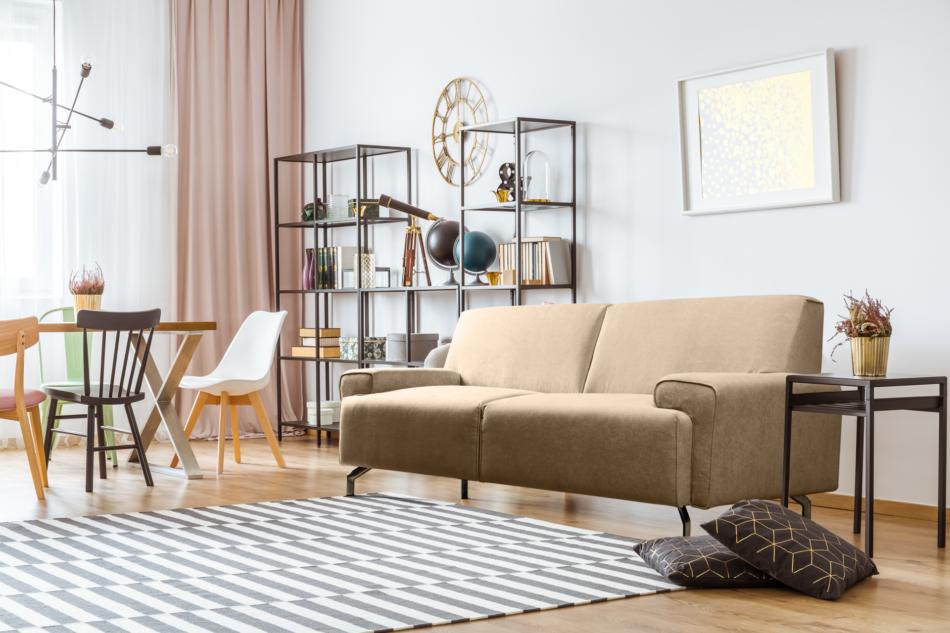 PERTO Sofa loft na czarnych nóżkach ciepły beż jasny brązowy - zdjęcie 1