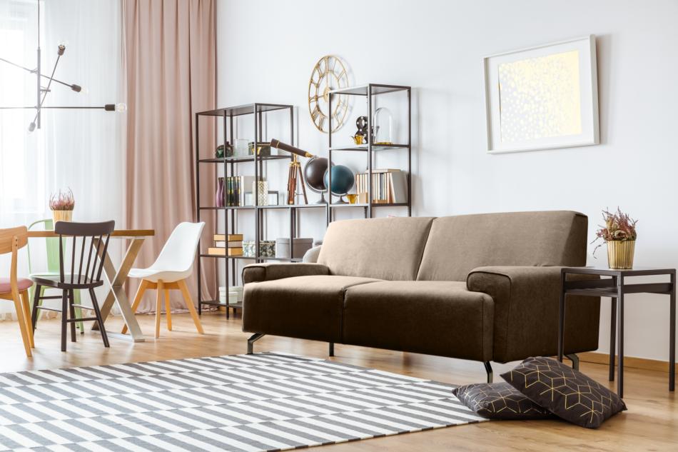 PERTO Sofa loft na czarnych nóżkach brązowa ciemny brązowy - zdjęcie 1