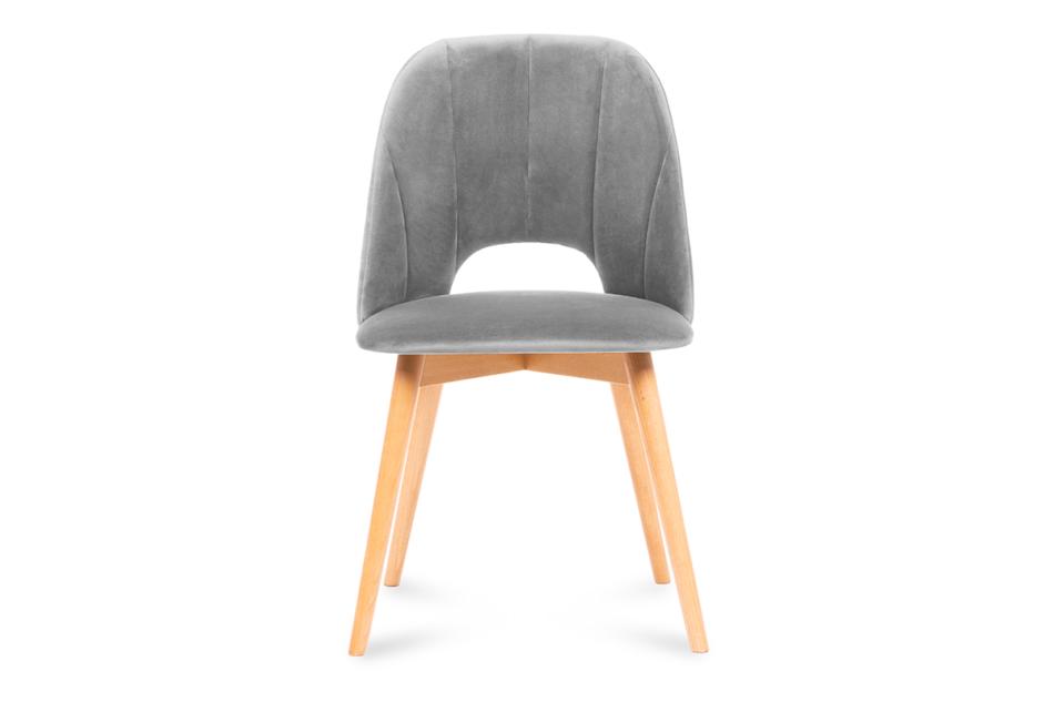 TINO Krzesło do jadalni welur szare szary/jasny dąb - zdjęcie 1