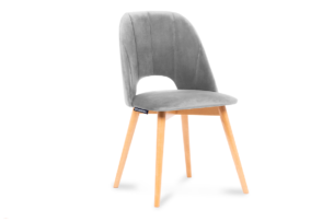 TINO, https://konsimo.pl/kolekcja/tino/ Krzesło do jadalni welur szare szary/jasny dąb - zdjęcie