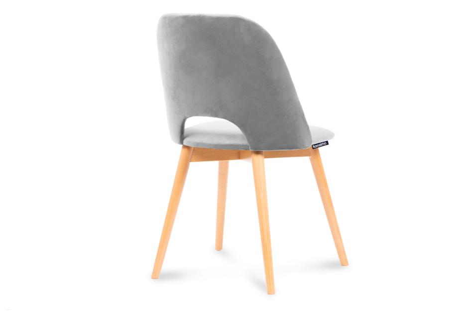 TINO Krzesło do jadalni welur szare szary/jasny dąb - zdjęcie 2