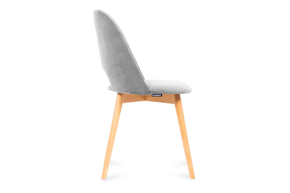 TINO Krzesło do jadalni welur szare szary/jasny dąb - zdjęcie 3