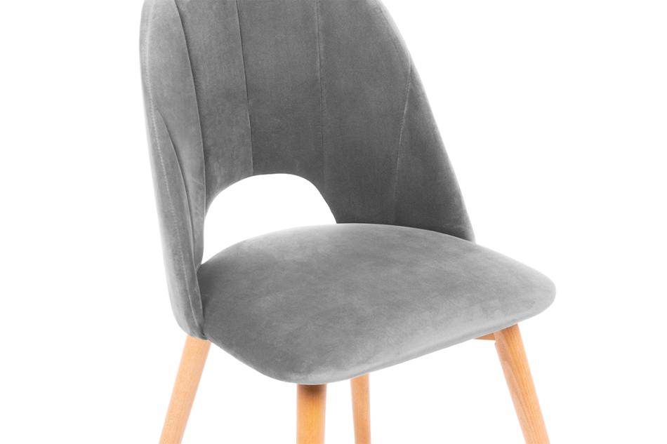 TINO Krzesło do jadalni welur szare szary/jasny dąb - zdjęcie 4