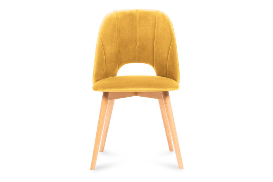 TINO Krzesło do jadalni welur żółte musztardowy/jasny dąb - zdjęcie 1