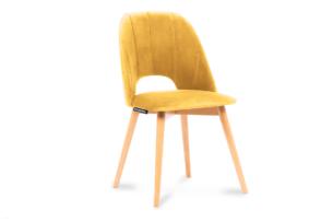 TINO, https://konsimo.pl/kolekcja/tino/ Krzesło do jadalni welur żółte musztardowy/jasny dąb - zdjęcie